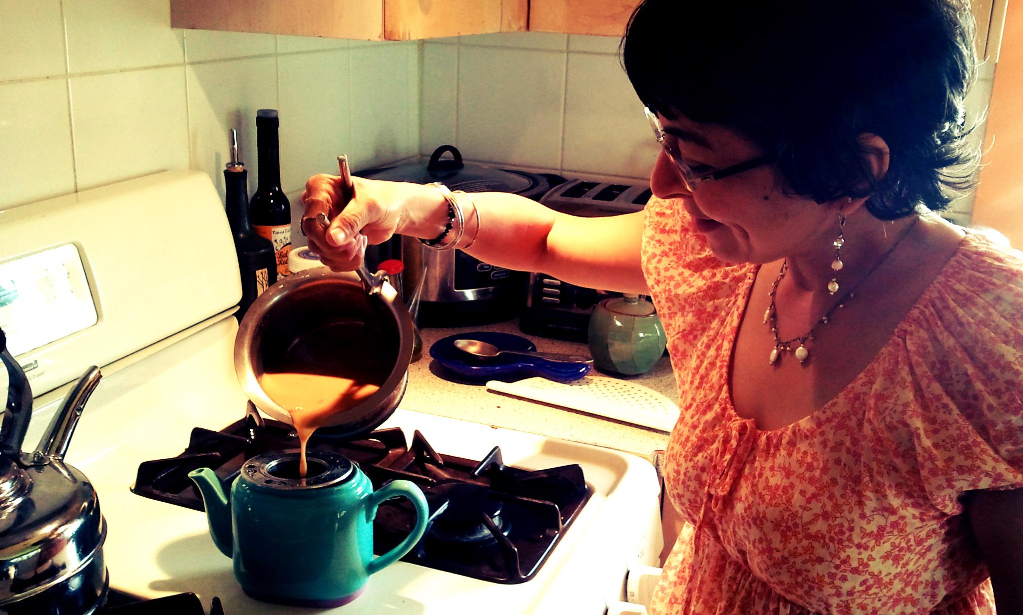 Trudy Ann making chai at home